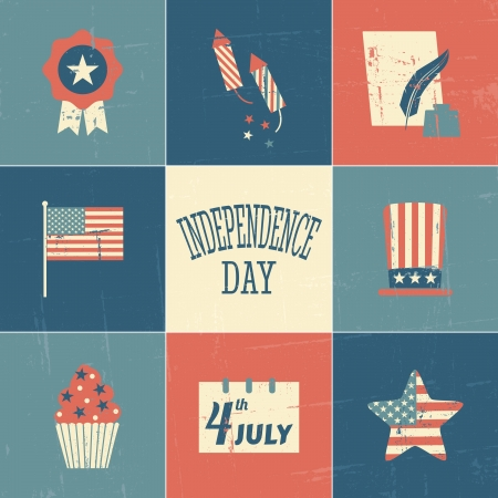A set of vintage style cards for Independence Day. Vector