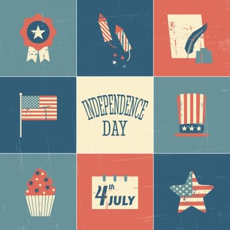 independencia: Un conjunto de tarjetas de estilo vintage para el D�a de la Independencia.