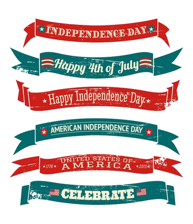 memorials: A set of six grungy US Independence Day banners isolated on white background. Illustration