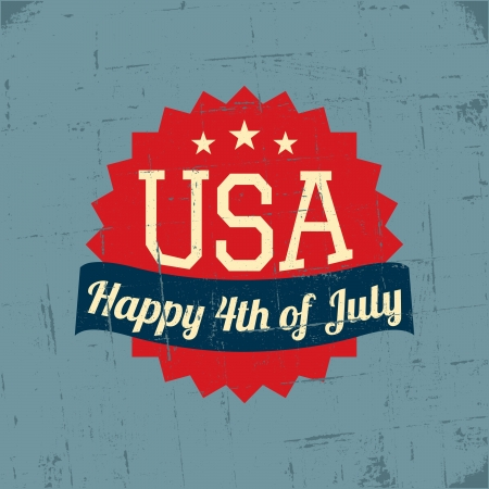 Grungy greeting card for the American Independence Day. Stock Vector - 20191636