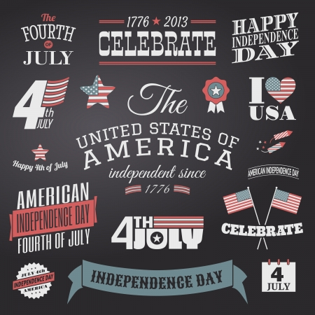 A set of chalkboard style typographic elements for Independence Day. Vector