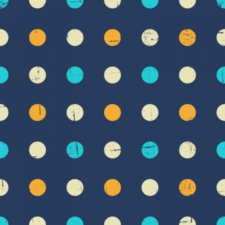 Seamless polka dot pattern in navy blue, yellow and white. Stock Vector - 20191602