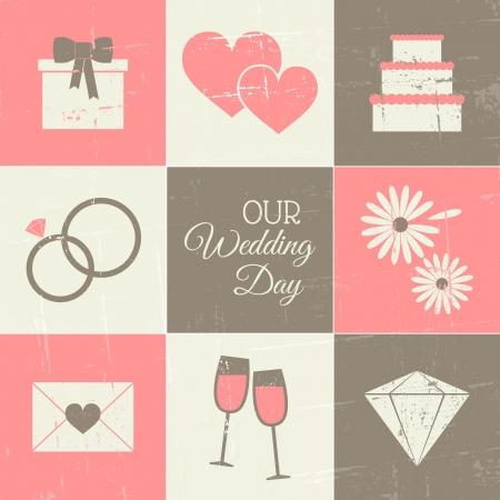 結婚式: ビンテージ スタイルの結婚式の日のアイコンのセットです。