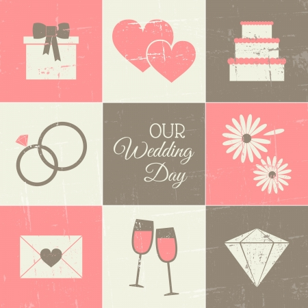 aniversario de boda: Un conjunto de iconos de estilo de la vendimia del d�a de boda.