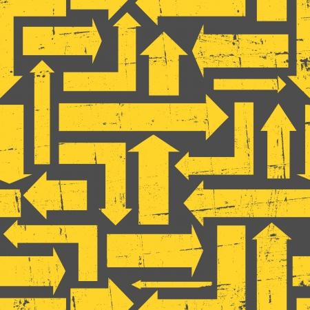 Abstracte naadloze patroon met gele pijlen. Stock Illustratie