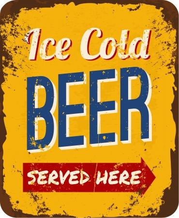 ビンテージの金属記号 ' 氷冷たいビールを提供していますここで '。  イラスト・ベクター素材