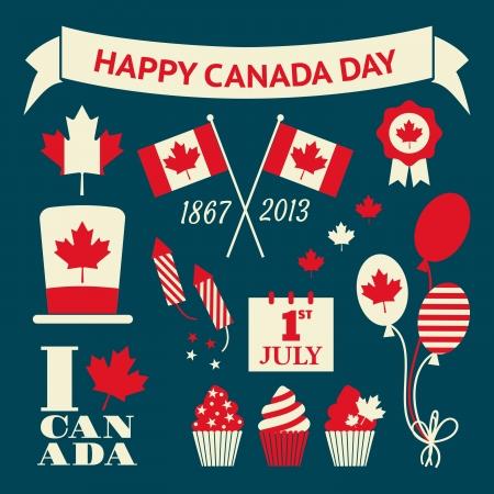 lễ kỷ niệm: Một tập hợp các yếu tố thiết kế theo phong cách retro cho Canada Day. Hình minh hoạ