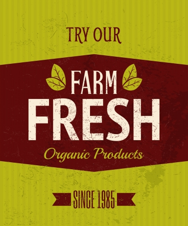 Vintage style farm fresh products poster. Vector