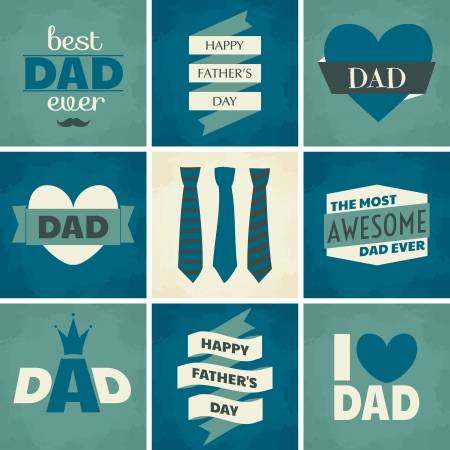 fathers day background: A set of nine greeting cards for Fathers Day.