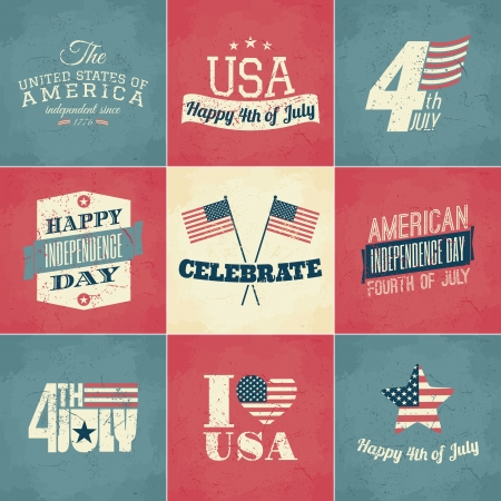 A set of nine Independence Day greeting cards. Vector