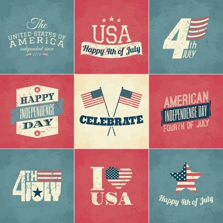 Een reeks van negen Independence Day wenskaarten. Stock Illustratie