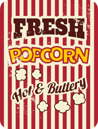 vintage: 復古風格的海報爆米花。
