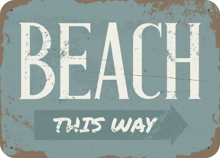 Vintage style beach tin sign. Imagens - 20445324