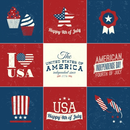 A set of nine vintage Independence Day greeting cards. Stock Vector - 20445327