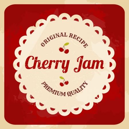jam: Vintage style cherry jam card.