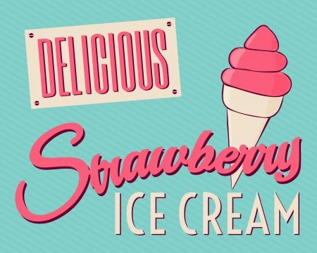 helados: Tarjeta de estilo vintage con helado de fresa. Vectores