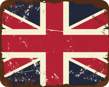 Vintage style tin sign with the British Flag. Stock Vector - 20445321