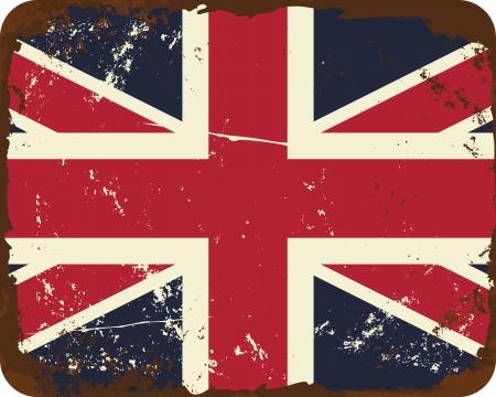 grunge union jack: Vintage style tin sign with the British Flag.