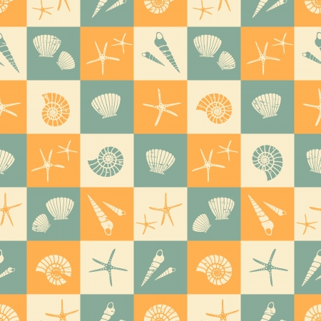 tilable: Seamless pattern with seashells in blue, beige and yellow. Illustration