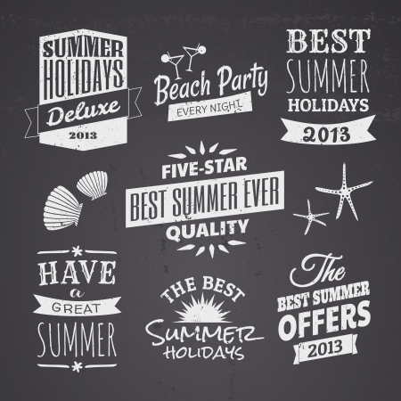 label vintage: A set of chalkboard style typographic designs for the summer season.