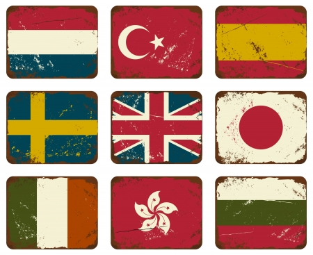 A set of old rusty tin signs with flags. Vector