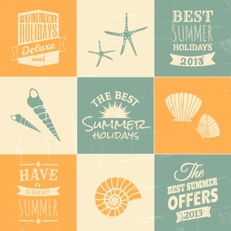 여행: 파란색, 베이지 색과 노란색 여름 인쇄상의 디자인과 아이콘의 세트를.