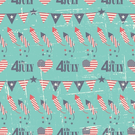 Seamless pattern for the American Independence Day in red, white and blue. Vector
