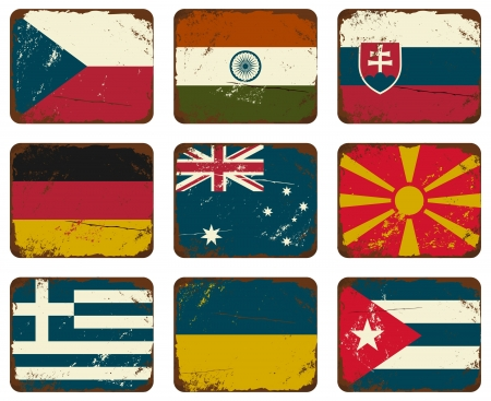 A set of old rusty tin signs with flags.