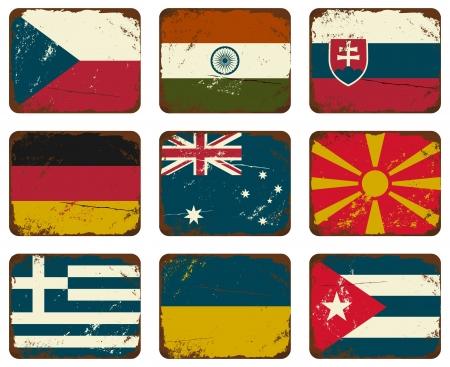 slovakia: Un insieme di vecchie insegne di latta arrugginiti con le bandiere. Vettoriali