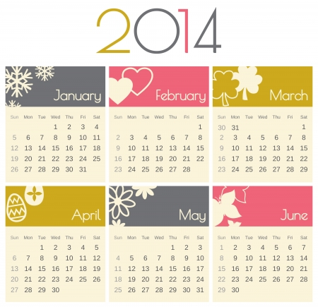 Minimalist design for a 2014 calendar (January to June). Illustration