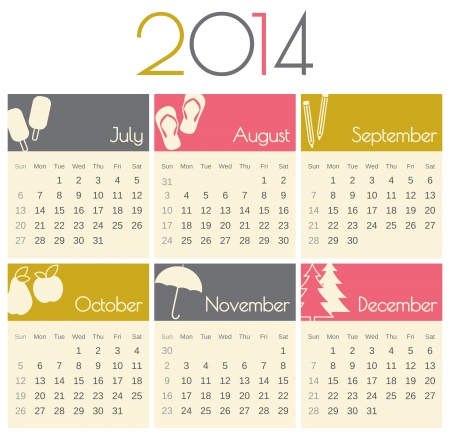 Minimalist design for a 2014 calendar (July to December). Vector