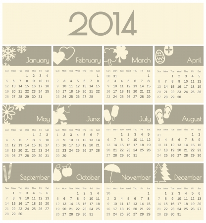 Minimalist design for a 2014 calendar. Vector