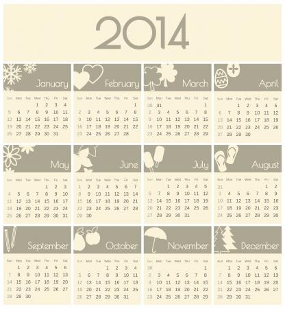 minimalista: Minimalista design egy 2014 naptár.