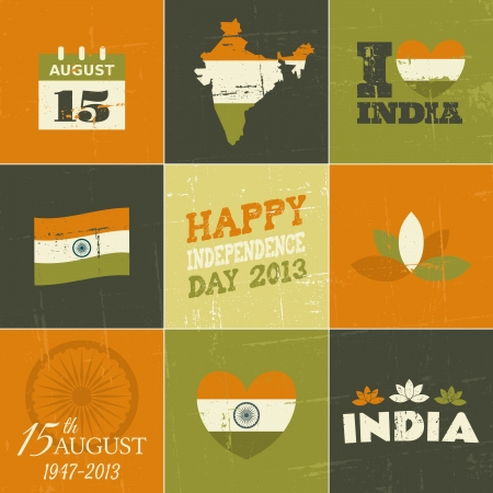 A set of symbols and icons for the Indian Independence Day. Vector