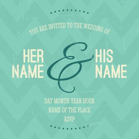 婚禮: 復古風格的婚禮邀請,在後台字形圖案。 向量圖像