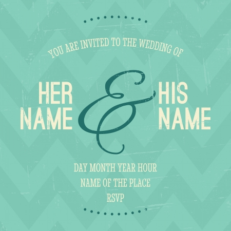 turquoise: Vintage style wedding invitation with chevron pattern in the background.