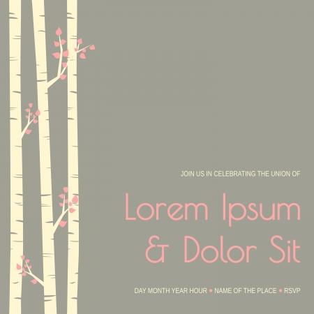 Elegant wedding invitation template with birch trees.