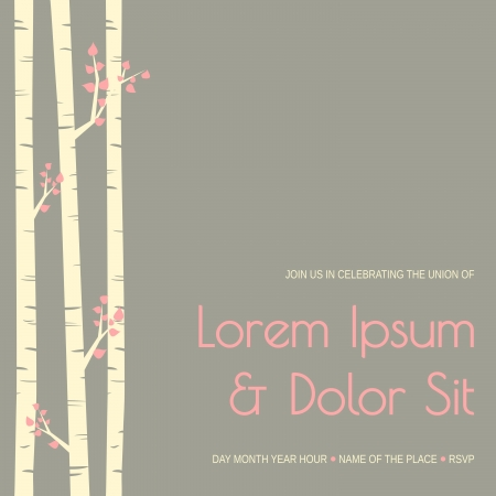 Elegant wedding invitation template with birch trees. Vector