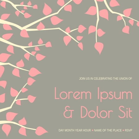 Elegant wedding invitation template with tree branches and pink leaves. Vector