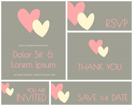 A set of minimalist design cards for wedding, engagement, bridal shower, etc. Vector
