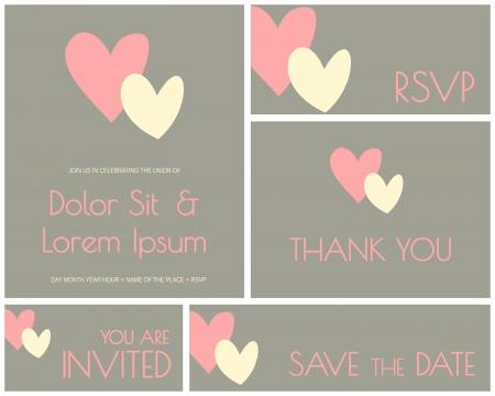 A set of minimalist design cards for wedding, engagement, bridal shower, etc. Stock Vector - 21086743