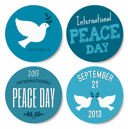 dove of peace: A set of four stickers for the International Day of Peace, isolated on white background.