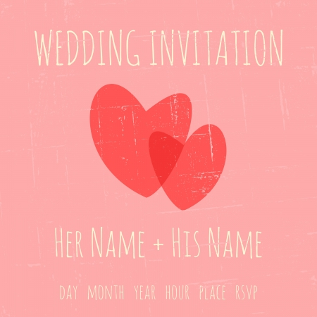 names: Vintage wedding invitation template with two hearts against pastel pink background. Illustration