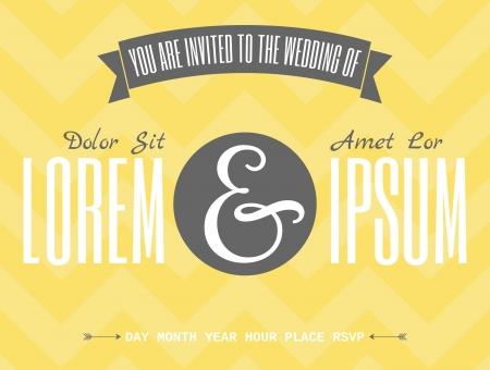 chevron background: Retro wedding invitation template with typographic designs against yellow chevron background. Illustration