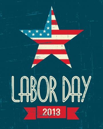 Cartaz do projeto Vintage para o dia Trabalho dos EUA.