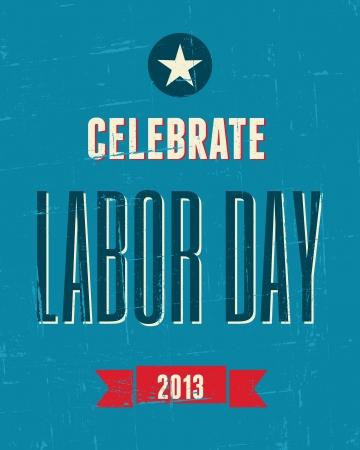 Vintage design poster for the US Labor day. Illustration