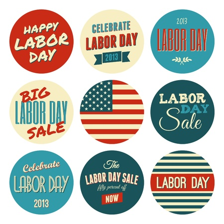national holiday: A set of nine Labor Day retro design stickers.