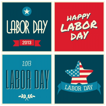 A set of retro typographic design cards for the US Labor day. Vector