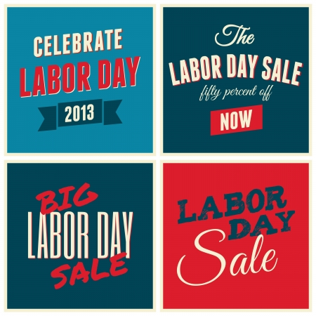 A set of retro typographic design cards for the US Labor day. Stock Vector - 21306163