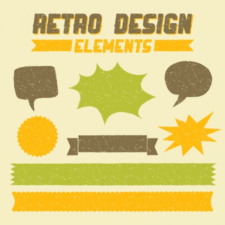 Retro style textured design elements with copy space. Stock Vector - 21306165